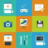 Icone trattate creative messe Fotografie Stock