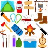 Icone Trekking e di campeggi di vettore royalty illustrazione gratis