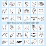 Icone umane di anatomia di dolore di corpo Fotografie Stock Libere da Diritti