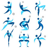 Icone umane di sport di logo messe Fotografia Stock