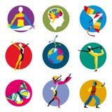 Icone umane di sviluppo Fotografia Stock