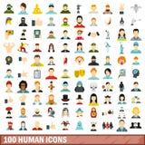 100 icone umane messe, stile piano illustrazione vettoriale