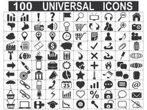 100 icone universali di web messe Fotografie Stock Libere da Diritti