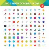 100 icone universali hanno messo 3 Fotografie Stock Libere da Diritti
