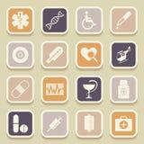 Icone universali mediche Immagine Stock