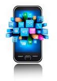 Icone in uno smartphone Immagine Stock Libera da Diritti