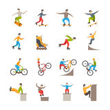 Icone urbane di sport di vettore con la gente illustrazione di stock