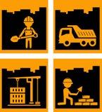 Icone urbane gialle stabilite di industriale della costruzione Immagini Stock