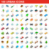 100 icone urbane messe, stile isometrico 3d Fotografia Stock