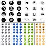 Icone v1-v10 del contatto Fotografia Stock