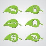 Icone varie del foglio di ecologia Fotografia Stock