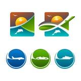 Icone varie variopinte di viaggio di vettore Fotografia Stock
