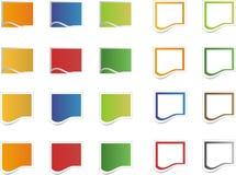 Icone variopinte in bianco dell'autoadesivo Immagine Stock