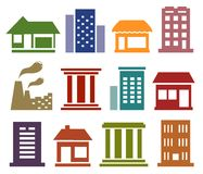 Icone variopinte con architettura urbana Immagini Stock