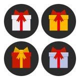 Icone variopinte dei contenitori di regalo messe Vettore Fotografie Stock