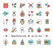 Icone variopinte del biglietto di S. Valentino, linea piana stile sottile, simboli di progettazione di amore royalty illustrazione gratis