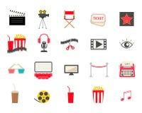 Icone variopinte del cinema messe Royalty Illustrazione gratis
