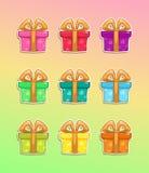 Icone variopinte del contenitore di regalo del fumetto Immagini Stock Libere da Diritti