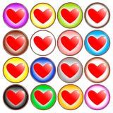 Icone variopinte del cuore Fotografia Stock Libera da Diritti