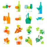 Icone variopinte del vino Fotografie Stock Libere da Diritti