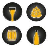 Icone variopinte della birra Fotografia Stock