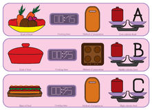 Icone variopinte della cucina per solitamente alimento Fotografie Stock Libere da Diritti