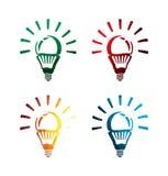 Icone variopinte della lampadina di idea su fondo bianco icone isolate della lampadina di idea EPS8 Fotografie Stock