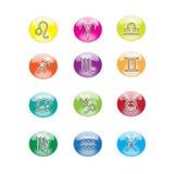Icone variopinte dello zodiaco Immagini Stock