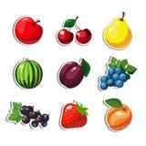 Icone variopinte di frutti del fumetto Fotografie Stock