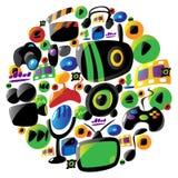 Icone variopinte di musica e di intrattenimento nel cerchio illustrazione di stock