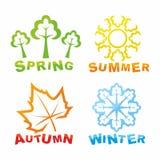 Icone variopinte di stagioni Fotografia Stock