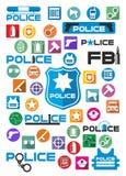Icone variopinte e logos della polizia messi illustrazione di stock