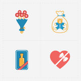 Icone variopinte moderne del negozio del regalo su bianco Fotografie Stock