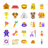Icone variopinte piane di web di vettore di cura del cane isolate su bianco Fotografie Stock