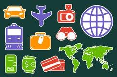 Icone variopinte stabilite per industria di viaggio Fotografie Stock