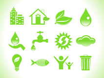 Icone verdi astratte di eco Immagini Stock