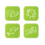 Icone verdi con alimento Immagine Stock Libera da Diritti