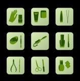 Icone verdi cosmetiche delle icone cosmetiche per il disegno di Web Immagini Stock Libere da Diritti