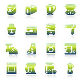 Icone verdi degli elettrodomestici Fotografie Stock Libere da Diritti