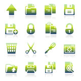 Icone verdi del documento Immagine Stock