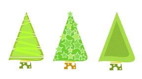 Icone verdi dell'albero di Natale Fotografia Stock Libera da Diritti