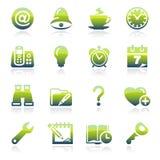Icone verdi dell'organizzatore Fotografie Stock