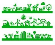 Icone verdi della citt Fotografia Stock Libera da Diritti