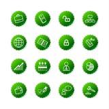 Icone verdi di affari dell'autoadesivo Fotografia Stock