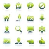 Icone verdi di base Fotografia Stock Libera da Diritti