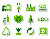 Icone verdi di Eco impostate Immagine Stock