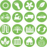 Icone verdi di ecologia Fotografie Stock Libere da Diritti