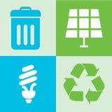 icone verdi di energia di eco messe Fotografie Stock Libere da Diritti