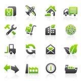 Icone verdi di trasporto Immagini Stock