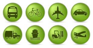 Icone verdi di trasporto Fotografia Stock